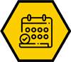 Calendar icon on a hexagon shape yellow background