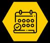 Calendar icon on a hexagon shape yellow background