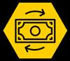 Money icon on a hexagon shape yellow background
