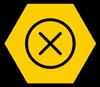 Error icon on a hexagon shape yellow background