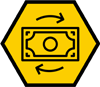 Money icon on a hexagon shape yellow background