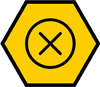 Error icon on a hexagon shape yellow background