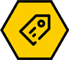 Price tag icon on a hexagon shape yellow background