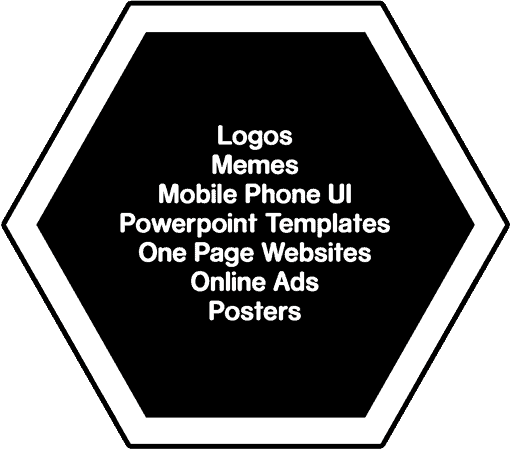 Lists of designs we can do: Logos, Meme, Mobile Phone UI, Powerpoint Template, One Page Website, Online Ads, Posters