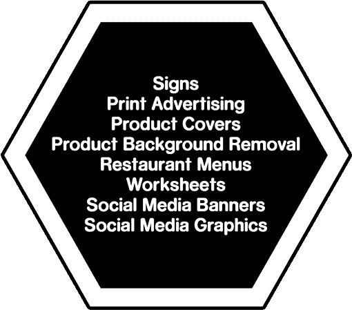 Lists of designs we can do: Signs, Print Advertising, Product Covers, Product Background Removal, Restaurant Menus, Worksheets, Social Media Banners, Social Media Graphics