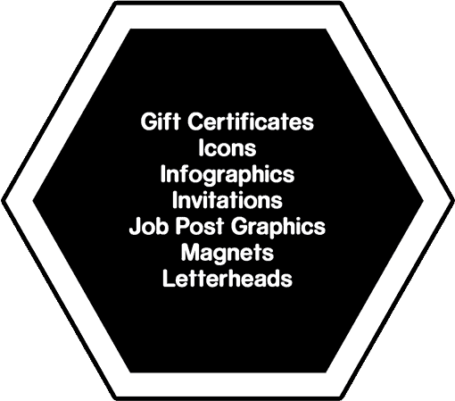 Lists of designs we can do: Gift Certificates, Icons, Infographics, Invitations, Job Post Graphics, Magnet, Letterhead