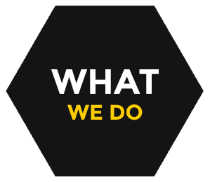Black hexagon shape background with 'What we do' text on it